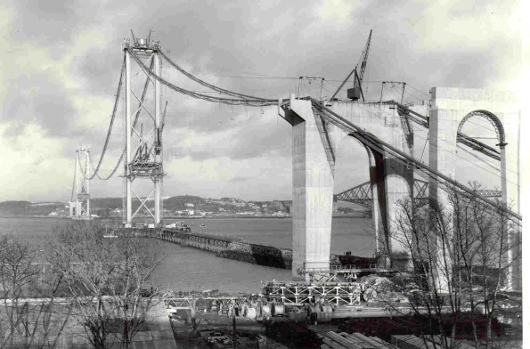 Forth Road Bridge during construction