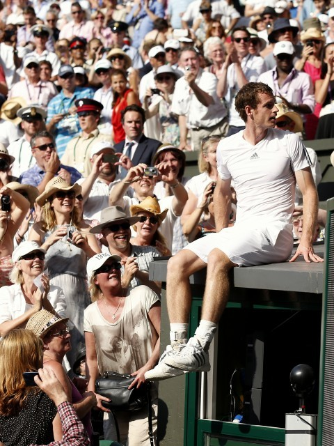 Murray heads back after climbing to the box to see his family (Getty Images)