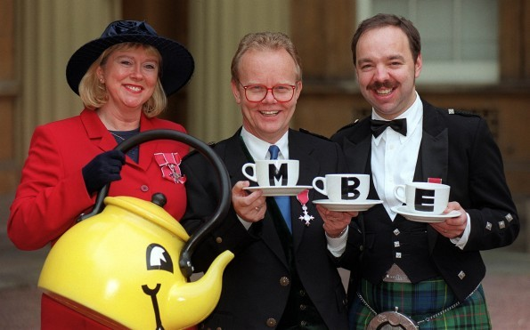Cilla Fisher, Artie Trezise and Gary Coupland, the three original members of The Singing Kettle, received MBEs in 1999