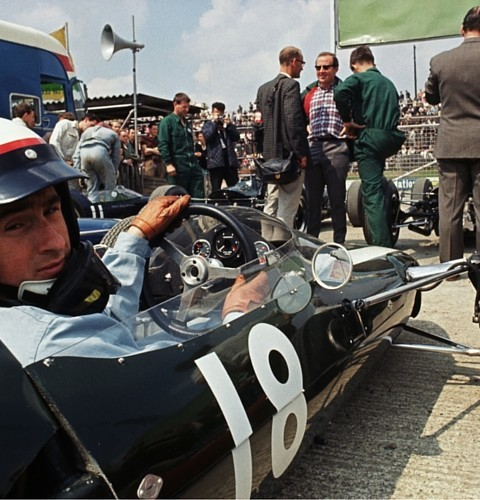15 Jul 1967: BRM driver Jackie Stewart of Great Britain prepares for the race during the British Formula One Grand Prix