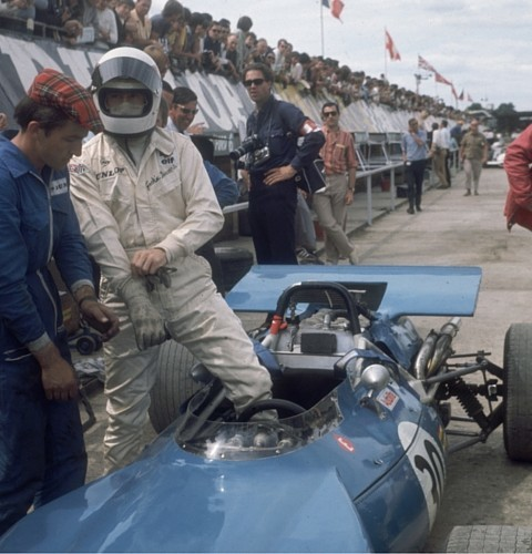 Scottish racing driver Jackie Stewart in the pits at Silverstone, 17th July 1969 - Getty Images