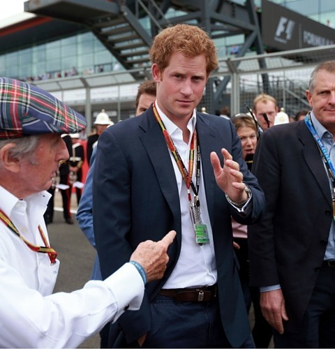 Sir Jackie Stewart and Prince Harry during the 2014 British Grand Prix