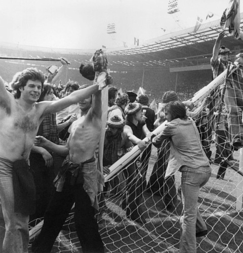 Scottish football fans invading the pitch after Scotland beat England in 1977 (Getty Images)