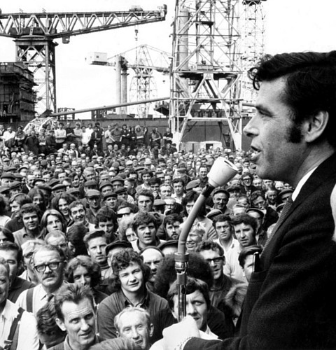 Jimmy Reid addresses a mass meeting of the Upper Clyde Shipyards workforce at Clydebank, July 1971.